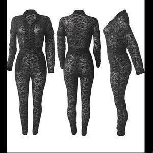 Romper jumpsuit sheer lace NWOT new